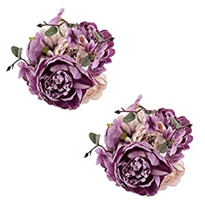 EZFLOWERY 2 Pack Artificial Peony Silk Flowers Arrangement Bouquet for Wedding Centerpiece Room Party Home Decoration, Elegant Vintage, Perfect for Spring, Summer and Occasions (2, New Purple) 28