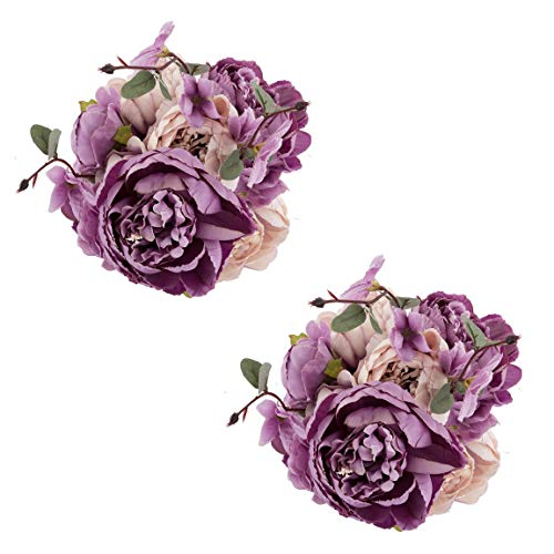 Summer Wedding Centerpiece - EZFLOWERY 2 Pack Artificial Peony Silk Flowers Arrangement Bouquet for Wedding Centerpiece Room Party Home Decoration, Elegant Vintage, Perfect for Spring, Summer and Occasions (2, New Purple)