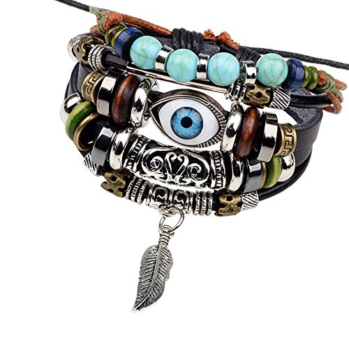 Gyand Beads Ethnic Tribal Evil Eye Angel Wing Feather Zen Leather Wrap Bracelets Wristband For Men and Women