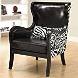 Coaster Home Furnishings Contemporary Accent Chair, Black/Zebra Print Review