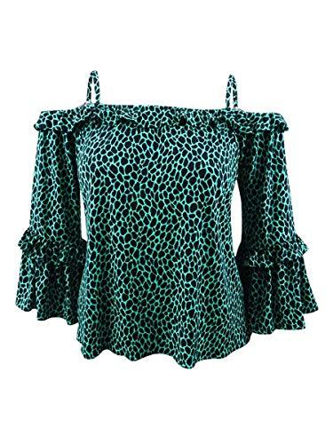 Michael Michael Kors Women's Leopard-Print Cold-Shoulder Top (XL, Aqua/Black)
