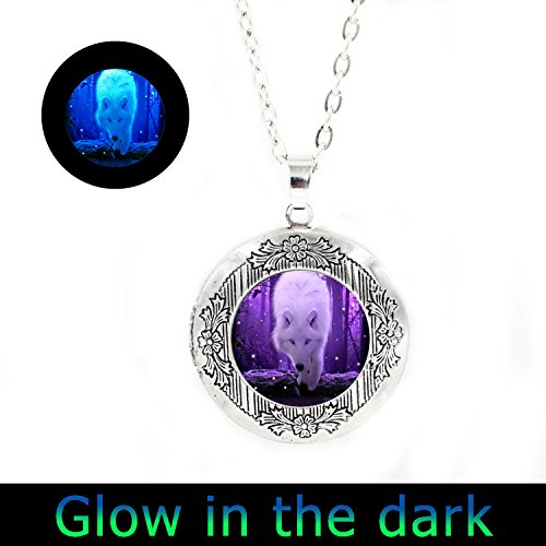 Glowlala@glowing Locket Necklace Wolf White Wolf Glow Wolf Glow in the Dark Wolf Locket Necklace Wolf Locket Pendant Animal Locket Jewel (1)