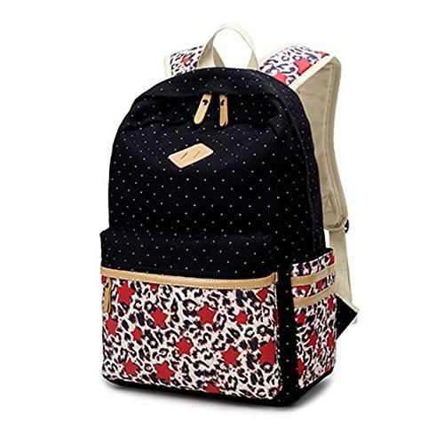 Abshoo Lightweight Canvas Cute Teen Girls Backpacks for School (Black)