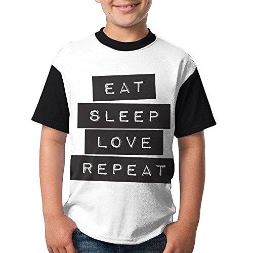 Teenager's Raglan T Shirts Eat Sleep Love repeat 3D Digital
