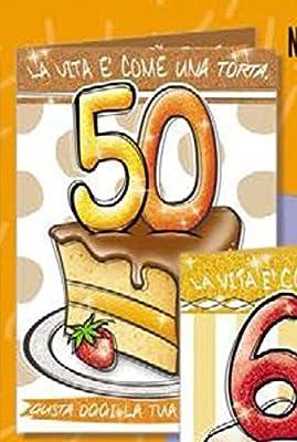 Tarjeta Felicitación cumpleaños 50 años una porción de tarta ...