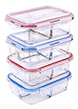 [4 PACK] FreshSav Series 35.5 oz Compartmentalized Glass Meal Prep Food Storage Containers Set Airtight locking Lids | Microwave, Freezer, Oven & Dishwasher Safe (2 Compartment + 3 Compartment Combo)