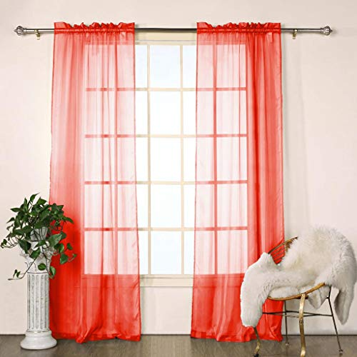 Duck River Textiles - Chianti Satin Stripe Rod Pocket Window Curtains for Living Room & Bedroom - Assorted Colors - Set of 2 Panels (40 X 84 Inch - Red) -