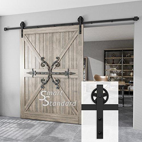 SMARTSTANDARD 10FT Heavy Duty Sliding Barn Door Hardware Kit, Double Rail, Black, Smoothly and Quietly, Simple and Easy to Install, Fit 60 Wide DoorPanel (Industrial Bigwheel Hangers)