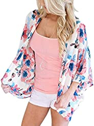 sumtaplor Women's Floral Kimono Cardigans Chiffon Casual Loose Open Front Cover Ups Tops S-