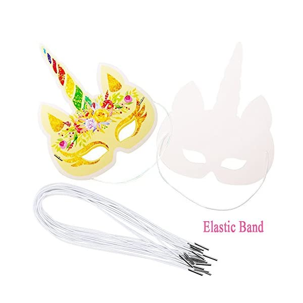 Lemoncy 12 Pack Rainbow Paper Masks Kids Birthday Masks Party Hat Eye Masks for Themed Party Favors 5