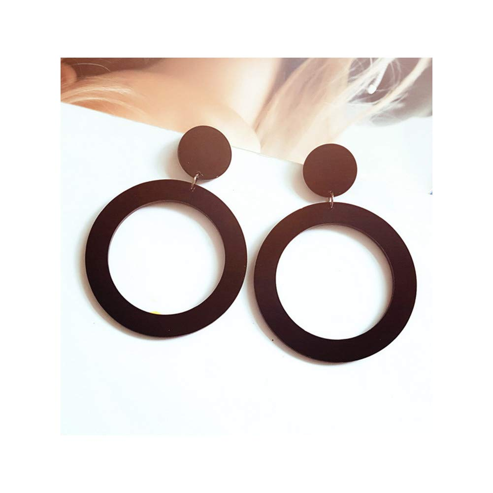 Resin Acrylic Hoop Dangle Earrings Geometric Hollow Circle Round Disc Wafer Drop Earrings Jewelry for Women Girls