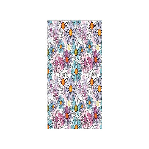 (3D Decorative Film Privacy Window Film No Glue,Floral,Retro Spring Floral Pattern Grunge Funky Style Inspired Colorful Daisies Bohemian Decor Print,Multi,for)