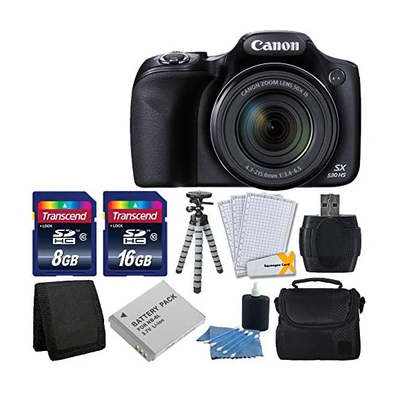 Canon PowerShot SX530 HS Digital Camera with 50x Optical Image Stabilized Zoom with 3-Inch LCD HD 1080p Video (Black)+ Extra Battery + 24GB Class 10 Card Complete Deluxe Accessory Bundle And Much More - 517TKZtGiyL - Canon PowerShot SX530 HS Digital Camera with 50x Optical Image Stabilized Zoom with 3-Inch LCD HD 1080p Video (Black)+ Extra Battery + 24GB Class 10 Card Complete Deluxe Accessory Bundle And Much More