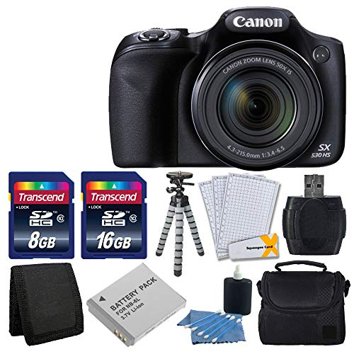 (Canon PowerShot SX530 HS Digital Camera with 50x Optical Image Stabilized Zoom with 3-Inch LCD HD 1080p Video (Black)+ Extra Battery + 24GB Class 10 Card Complete Deluxe Accessory Bundle And Much More)