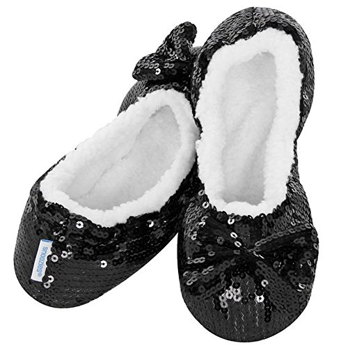 Black Ballerina Bling Snoozies Large (UK 6 - 7) - Sherpa Fleece Slippers Cosy Foot Coverings