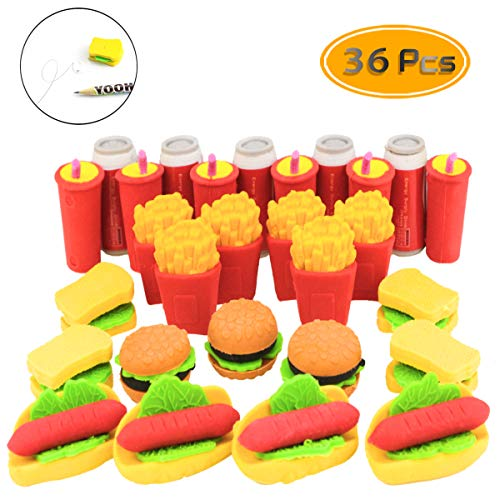 Fyess 36 PCS 3D Fast Food Erasers Mini Puzzle Erasers Fast Food Rubber Erasers Novelty Cute Pencil Eraser -