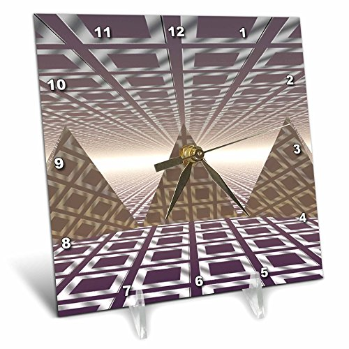 Pyramid Table Clock - 3dRose dc_19939_1 Pyramids Three Dimensional Digital Art of Tiled Series of Triangular Pyramids Desk Clock, 6 by 6-Inch