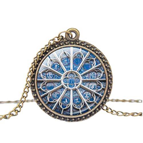 Haluoo Vintage Steampunk Style Glass Bronze Pendant Necklace, Notre Dame de Paris Cathedral Pendant, Classic Building Necklaces for Men and Women Long Chain Blessing Necklaces (L)