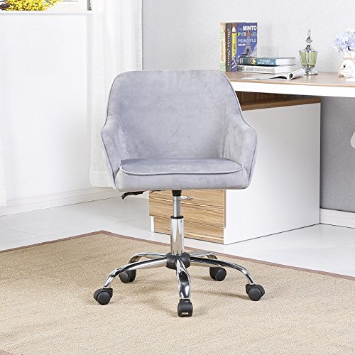 Velvet Padded Seat & Back W/Built-in Lumbar Support Office Task Chair, Charcoal - Y-360 Mod Style Wheels