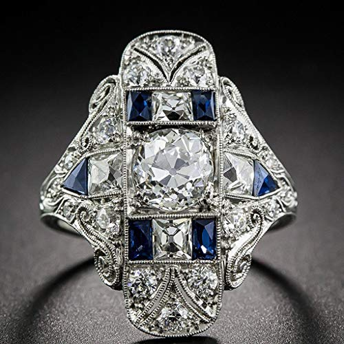 Haluoo Crystal Rhinestones Engagement Wedding Band Sparkling 925 Sterling Silver Created Gemstone Aquamarine Sapphire Statement Promise Rings Tanzanite Topaz Sapphire Ring Hollow Ring (6, Blue)