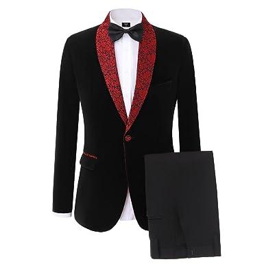 8b362bfc128 Lilis Men s New Groomsmen Shawl Lapel Groom Tuxedos Velvet Mens Suits  Wedding Best Man Men Suit