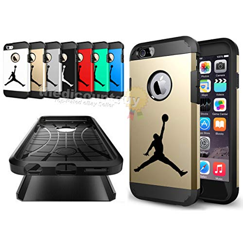 iPhone 7 - Shock Resistant Two Layer TPU & PC Jordan Case + Full Drop Protection feat. Slim Thin Hard Soft Dual Shell Basketball Design Cover (Red)