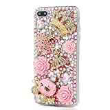 STENES iPhone 6/6S Case - [Luxurious Series] 3D Handmade Shiny Crystal Sparkle Bling Case With Retro Bowknot Anti Dust Plug - Crystal Golden Crown Flowers Ballet Girls Pink Pumpkin Car Rose Flowers