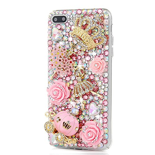 STENES iPhone 5/5S/SE Case - [Luxurious Series] 3D Handmade Shiny Sparkle Bling Case with Retro Bowknot Anti Dust Plug - Crystal Golden Crown Flowers Ballet Girls Pink Pumpkin Car Rose Flowers ()