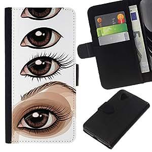 All Phone Most Case / Oferta Especial Cáscara Funda de cuero Monedero Cubierta de proteccion Caso / Wallet Case for LG Nexus 5 D820 D821 // Drawing Instruction Eye White Sketch