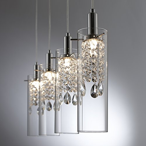 Bazz P14531CRLED Glam 4-Branch LED Pendant Light, Dimmable, Adjustable, Bulbs Included, Energy Efficient, 71-in, Glass