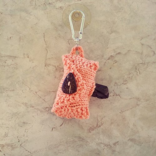 Doggy Poop Bag Holder Coconut Button Carabiner Peach