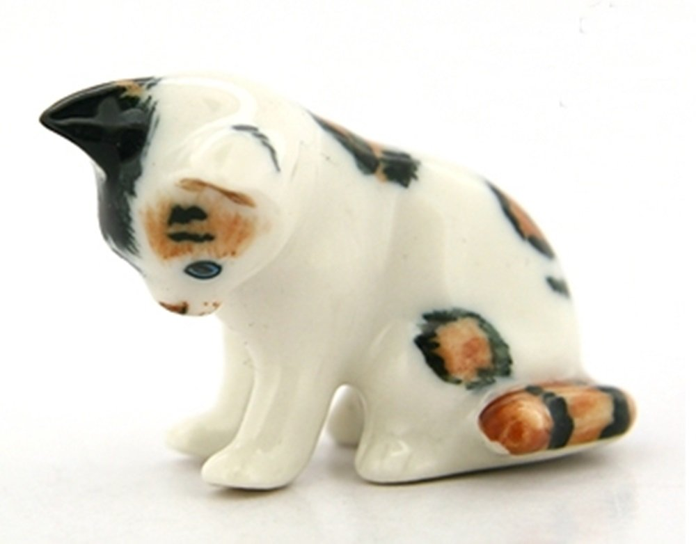 Dollhouse Miniatures Ceramic White Cat sitting FIGURINE Animals Decor by ChangThai Design (Image #1)