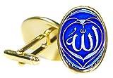 Allah Royal Blue 18x24mm (3/4'' X 1'') Oval Bright Gold Pair of Cufflinks