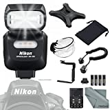 Nikon SB-500 AF Speedlight Flash + 180Degree Quick Flip rotating Flash Bracket + Universal Soft Bounce Diffuser + Flash Cords + 4 X AA Rechargeable Batteries with Charger + FiberTique Cleaning Cloth