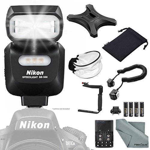 Nikon SB-500 AF Speedlight Flash + 180Degree Quick Flip rotating Flash Bracket + Universal Soft Bounce Diffuser + Flash Cords + 4 X AA Rechargeable Batteries with Charger + FiberTique Cleaning Cloth by Photo Savings
