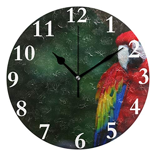 HangWang Wall Clock Scarlet Macaw Beautiful Single Colors Silent Non Ticking Decorative Round Digital Clocks for Home/Office/School Clock