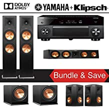 Klipsch RP-280FA 5.2-Ch Reference Premiere Dolby Atmos Home Theater System with Yamaha AVENTAGE RX-A2070BL 9.2-Channel Network AV Receiver