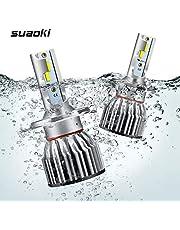 SUAOKI H4/HB2/9003 Bombillas de faros delanteros coche LED, Reemplazo de luz halógena, 8000 lúmenes, Super brillante de 6000k, IP68 Impermeable, disipación de calor rápida