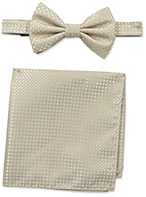 Steve Harvey Men's Neat Solid Bowtie and Neat Solid Pocket Square