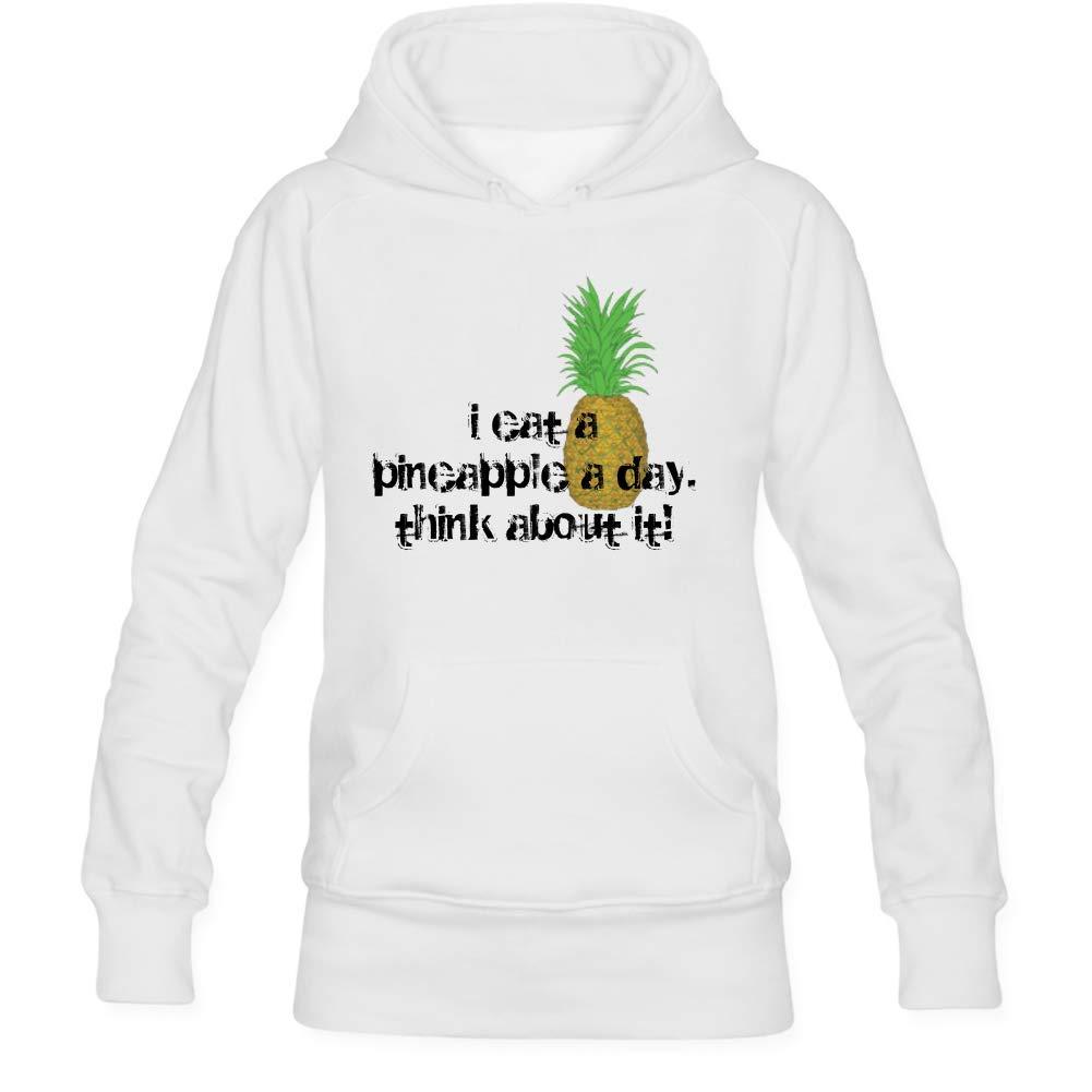 Funny Womens I Eat A Pineapple Long Sleeve Gray Cotton Hooded Sweatshirt Trend