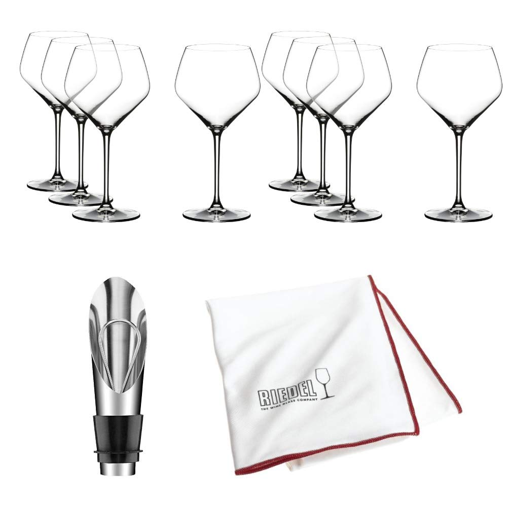 Riedel Extreme Crystal Oaked Chardonnay Wine Glass, Set of 8 Glasses Includes Bottle Opener and Polishing Cloth