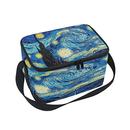 Bettken Van Gogh Starry Sky Photo Custom Insulated Lunch Bag/Box/Organizer/Holder/Container Lunch Ice Pack with Shoulder Strap for Work,School and Picnic (Insulated Van)
