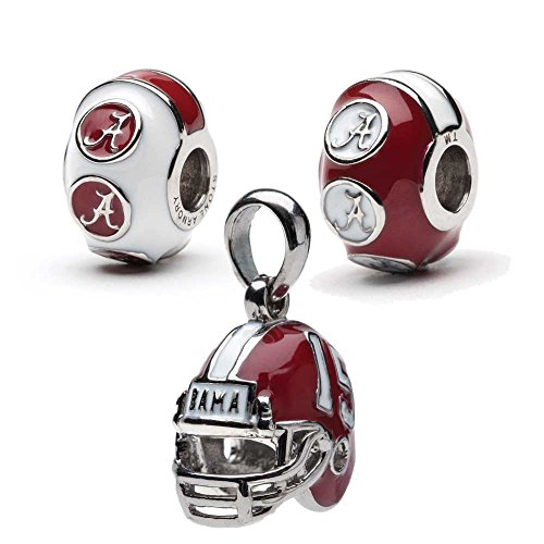 University of Alabama Bead Charm Set | Stainless Steel Alabama Charms | Set of Three Crimson Tide Charms | Alabama Helmet Charm Set | University of Alabama Gift | Fits (Crimson Helmet)