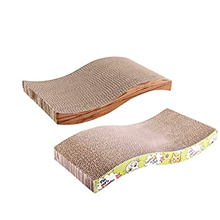 Amazon.com : Kangkang@ S Shape Cat Kitten Corrugated Scratch CardBoard Pad Bed Mat Claws Care Interactive Toy For Pet Cat Training Cat Toy Random Color ...