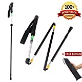 Collapsible Trekking Pole Folding Walking Stick with Carrying Case(1 pc),Travelers Adjustable Hiking Pole Walking Cane,Portable Mobility Aid for Women Men Hikers Gift by CLINE,Black