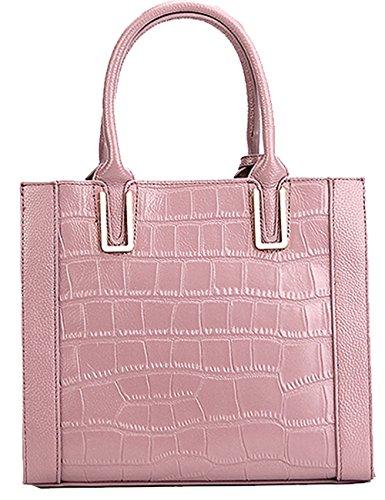 Menschwear Womens Genuine Leather Top Handle Satchel Bag Pink by Menschwear (Image #4)
