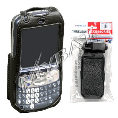Skin Black Treo (Premium Durable Black Neoprene Carrying Case with Clip for Palm Treo 800w [Mybat Packaging])