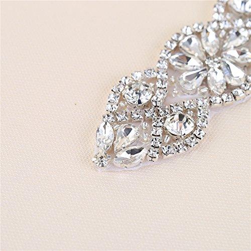 con Bolsas 2 Vestido Plata Rhinestone el Applique Cinturones Novia piezas para Vestido Cinturon Boda y para 017 Perlas Headpieces Cristales 6nnPt