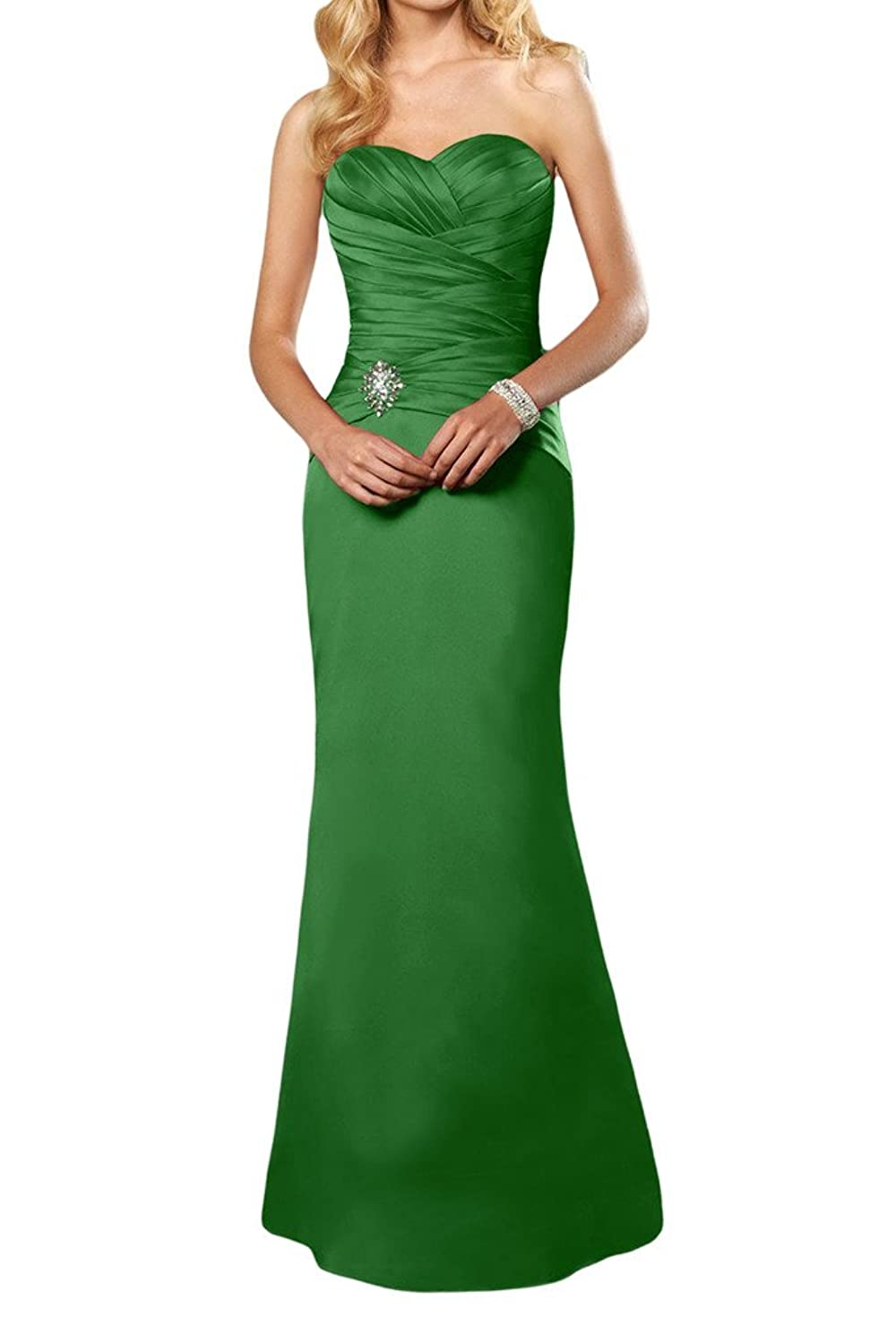 Gorgeous Bride Satin Simple Sweetheart Long Evening Party Dress Formal Gown