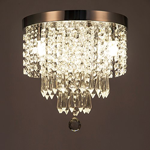 ZEEFO Crystal Chandeliers, Modern Pendant Flush Mount Ceiling Light Fixtures, 3 Lights, H10.2 W9.8 Inches, Contemporary Elegant Design Style Suitable For Hallway, Living Room, Dining Room by ZEEFO (Image #7)